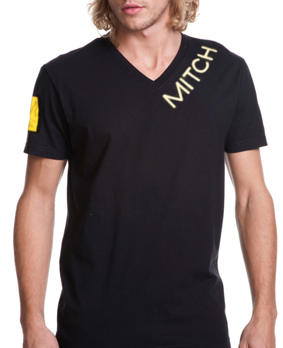 "MITCH ""Yellow Sq"" mens (unisex) vneck tee"